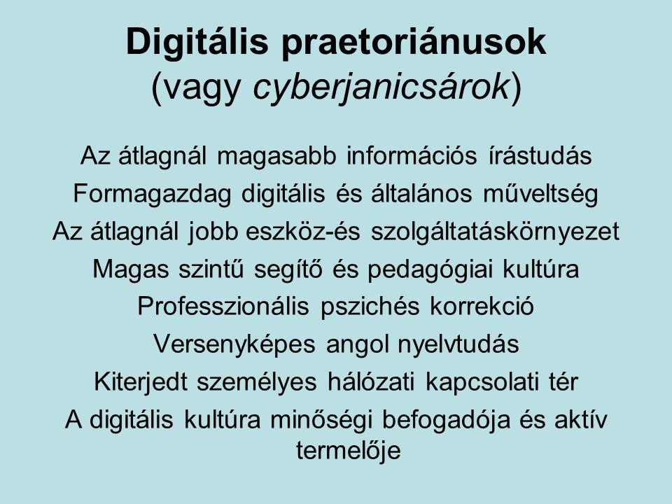 Digitális praetoriánusok (vagy cyberjanicsárok) Az átlagnál magasabb információs írástudás Formagazdag digitális és általános műveltség Az átlagnál jobb eszköz-és szolgáltatáskörnyezet Magas szintű segítő és pedagógiai kultúra Professzionális pszichés korrekció Versenyképes angol nyelvtudás Kiterjedt személyes hálózati kapcsolati tér A digitális kultúra minőségi befogadója és aktív termelője