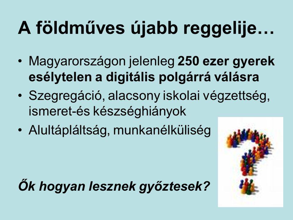 A földműves újabb reggelije… Magyarországon jelenleg 250 ezer gyerek esélytelen a digitális polgárrá válásra Szegregáció, alacsony iskolai végzettség, ismeret-és készséghiányok Alultápláltság, munkanélküliség Ők hogyan lesznek győztesek