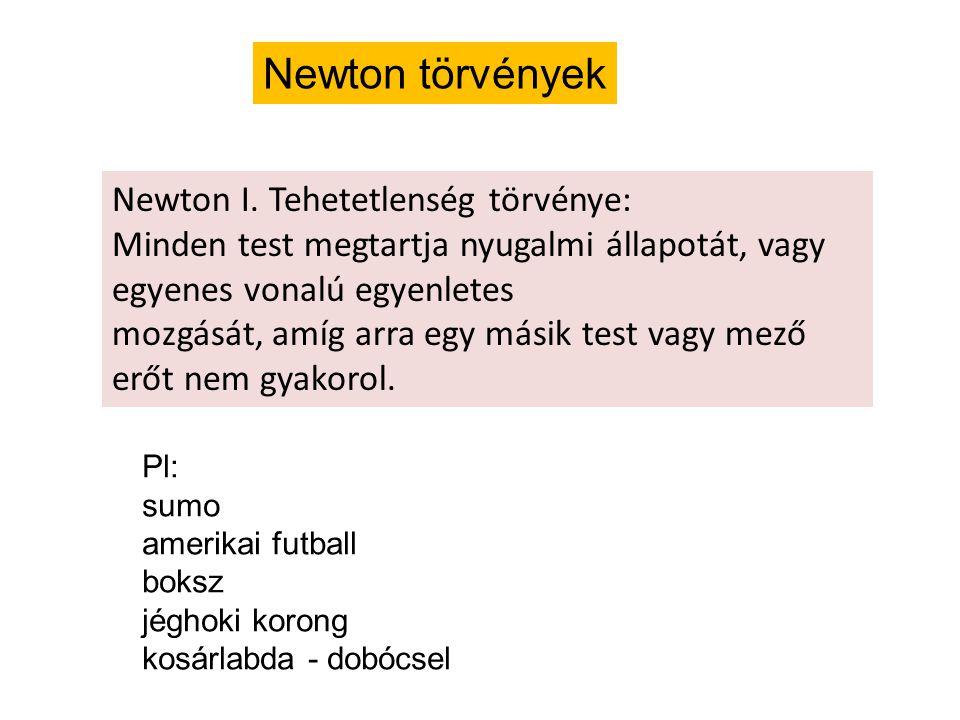 Newton törvények Pl: sumo amerikai futball boksz jéghoki korong kosárlabda - dobócsel Newton I.