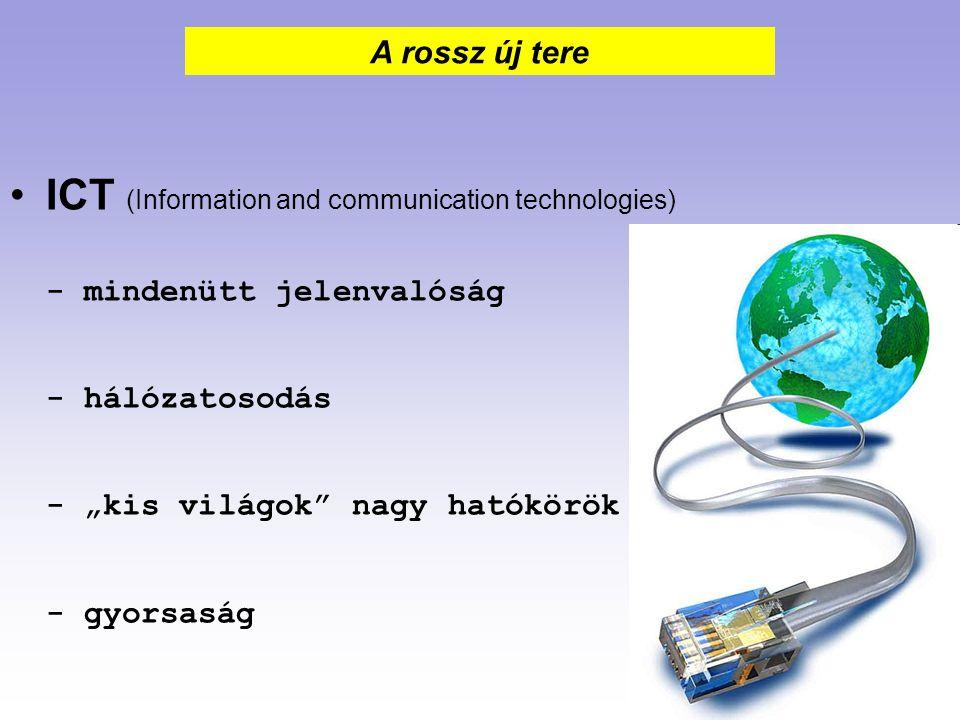"""ICT (Information and communication technologies) - mindenütt jelenvalóság - hálózatosodás - """"kis világok"""" nagy hatókörök - gyorsaság A rossz új tere"""