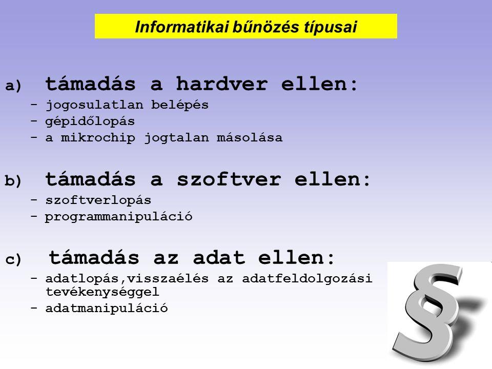 a) számítógépes csalás b) számítógépes kikémlelés c) számítógépes szabotázs d) számítógépes hacking e) számítógépidő-, szoftver- és hardverlopás.