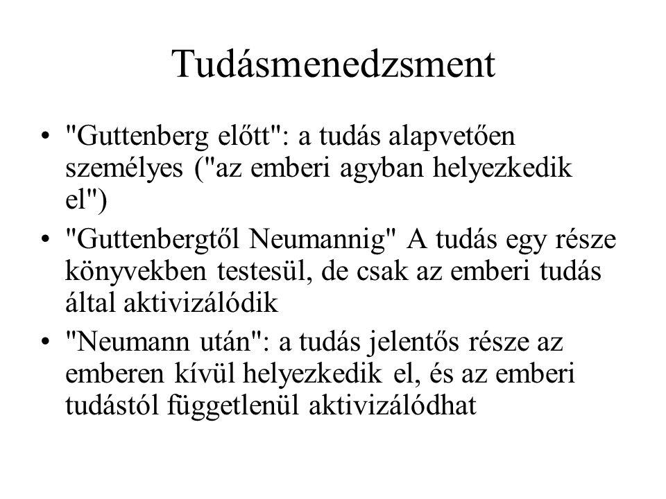 Tudásmenedzsment Guttenberg előtt : a tudás alapvetően személyes ( az emberi agyban helyezkedik el ) Guttenbergtől Neumannig A tudás egy része könyvekben testesül, de csak az emberi tudás által aktivizálódik Neumann után : a tudás jelentős része az emberen kívül helyezkedik el, és az emberi tudástól függetlenül aktivizálódhat