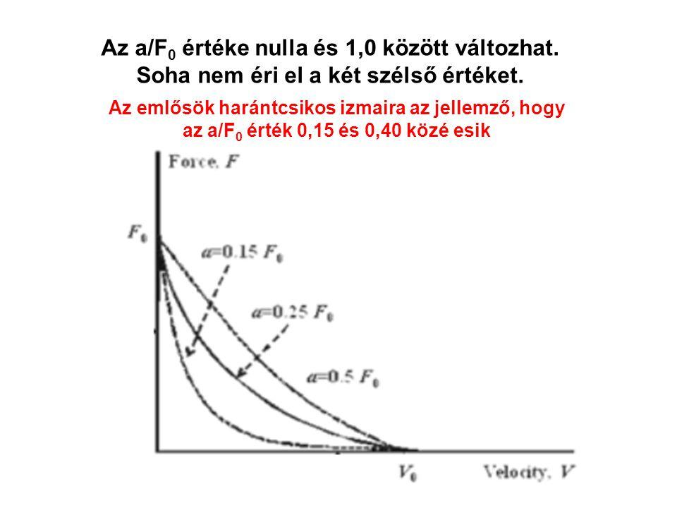 Néhány változó értéke A maximális teljesítmény az izom azzal a teher (súly) nagysággal éri el, amely a maximális statikus erő 30-40 százaléka.