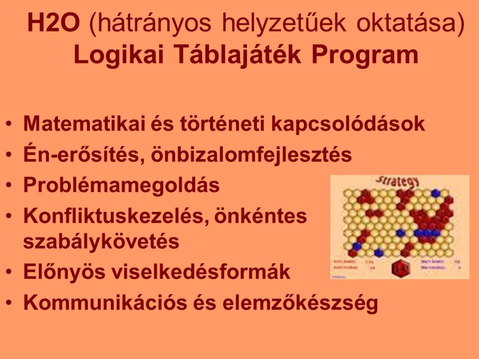 H2O (hátrányos helyzetűek oktatása) Logikai Táblajáték Program Matematikai és történeti kapcsolódások Én-erősítés, önbizalomfejlesztés Problémamegoldás Konfliktuskezelés, önkéntes szabálykövetés Előnyös viselkedésformák Kommunikációs és elemzőkészség