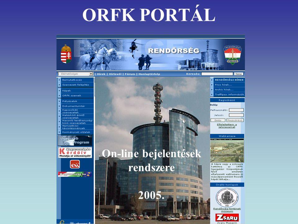 ORFK PORTÁL On-line bejelentések rendszere 2005.