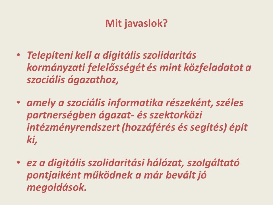 Mit javaslok? Telepíteni kell a digitális szolidaritás kormányzati felelősségét és mint közfeladatot a szociális ágazathoz, amely a szociális informat