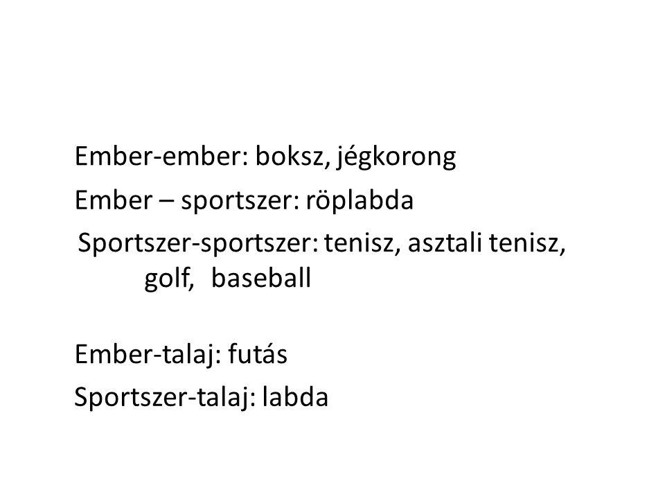 Ember-ember: boksz, jégkorong Ember – sportszer: röplabda Sportszer-sportszer: tenisz, asztali tenisz, golf, baseball Ember-talaj: futás Sportszer-tal