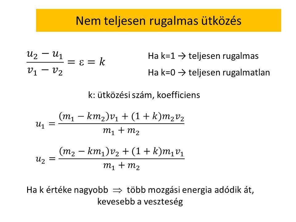 Nem teljesen rugalmas ütközés Ha k=1 → teljesen rugalmas Ha k=0 → teljesen rugalmatlan k: ütközési szám, koefficiens Ha k értéke nagyobb  több mozgás