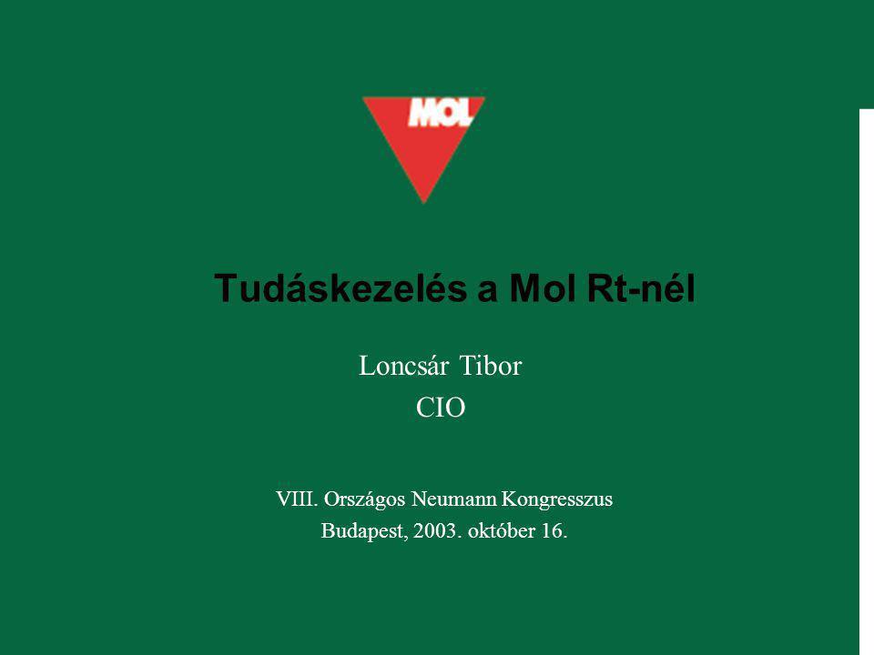 Tudáskezelés a Mol Rt-nél VIII. Országos Neumann Kongresszus Budapest, 2003. október 16. Loncsár Tibor CIO