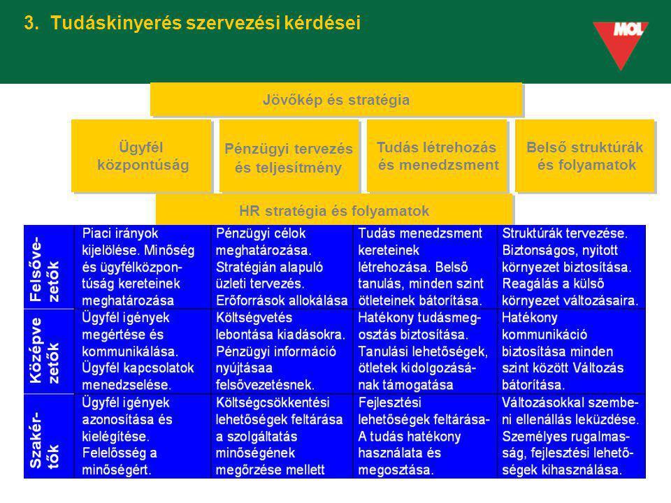 3. Tudáskinyerés szervezési kérdései Jövőkép és stratégia Ügyfél központúság Ügyfél központúság Pénzügyi tervezés és teljesítmény Pénzügyi tervezés és