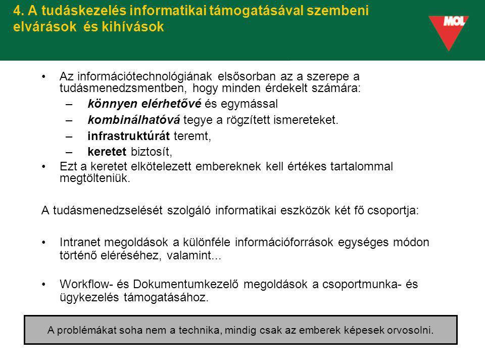 4. A tudáskezelés informatikai támogatásával szembeni elvárások és kihívások Az információtechnológiának elsősorban az a szerepe a tudásmenedzsmentben