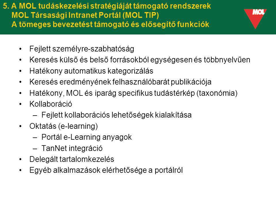 5. A MOL tudáskezelési stratégiáját támogató rendszerek MOL Társasági Intranet Portál (MOL TIP) A tömeges bevezetést támogató és elősegítő funkciók Fe