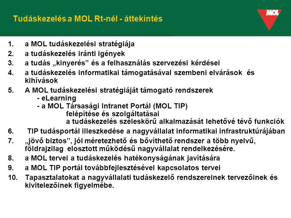 """Tudáskezelés a MOL Rt-nél - áttekintés 1.a MOL tudáskezelési stratégiája 2.a tudáskezelés iránti igények 3.a tudás """"kinyerés"""" és a felhasználás szerve"""