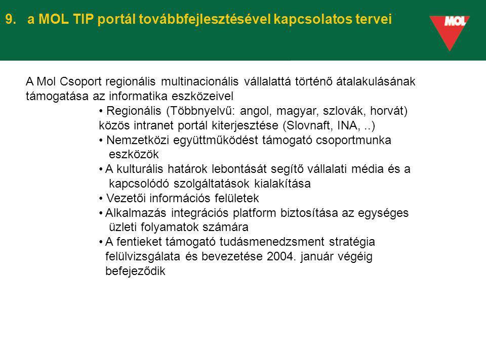 9. a MOL TIP portál továbbfejlesztésével kapcsolatos tervei A Mol Csoport regionális multinacionális vállalattá történő átalakulásának támogatása az i