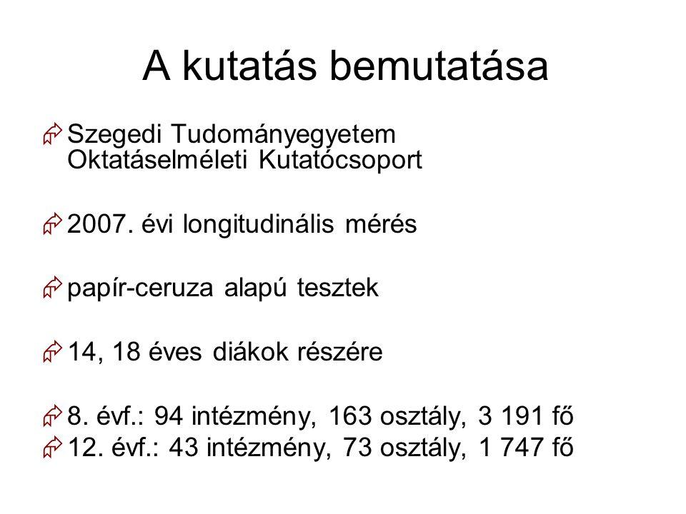 A kutatás bemutatása  Szegedi Tudományegyetem Oktatáselméleti Kutatócsoport  2007. évi longitudinális mérés  papír-ceruza alapú tesztek  14, 18 év