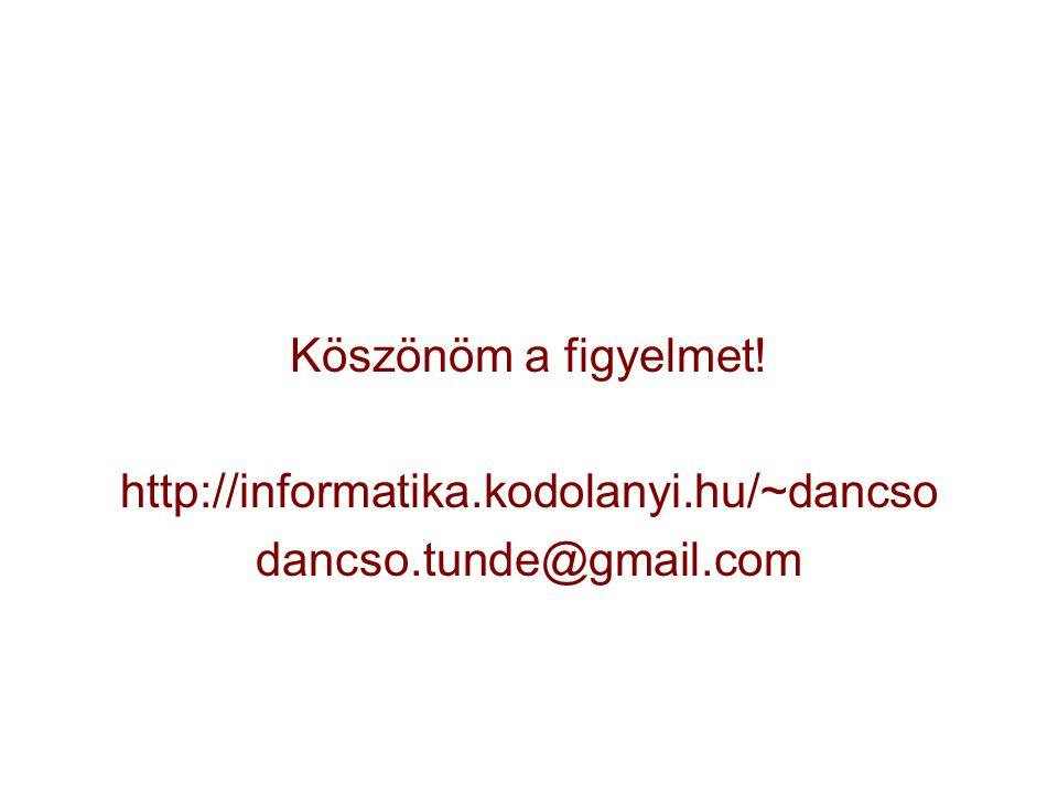 Köszönöm a figyelmet! http://informatika.kodolanyi.hu/~dancso dancso.tunde@gmail.com