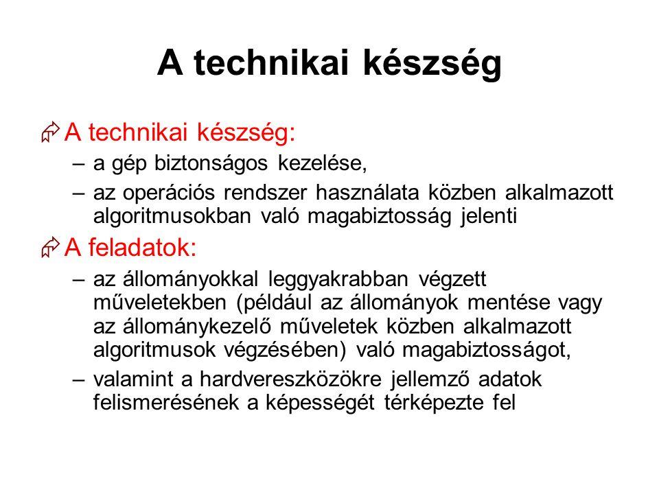 A technikai készség  A technikai készség: –a gép biztonságos kezelése, –az operációs rendszer használata közben alkalmazott algoritmusokban való maga