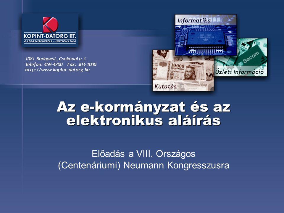 Kutatás Üzleti Információ Informatika 1081 Budapest, Csokonai u 3.