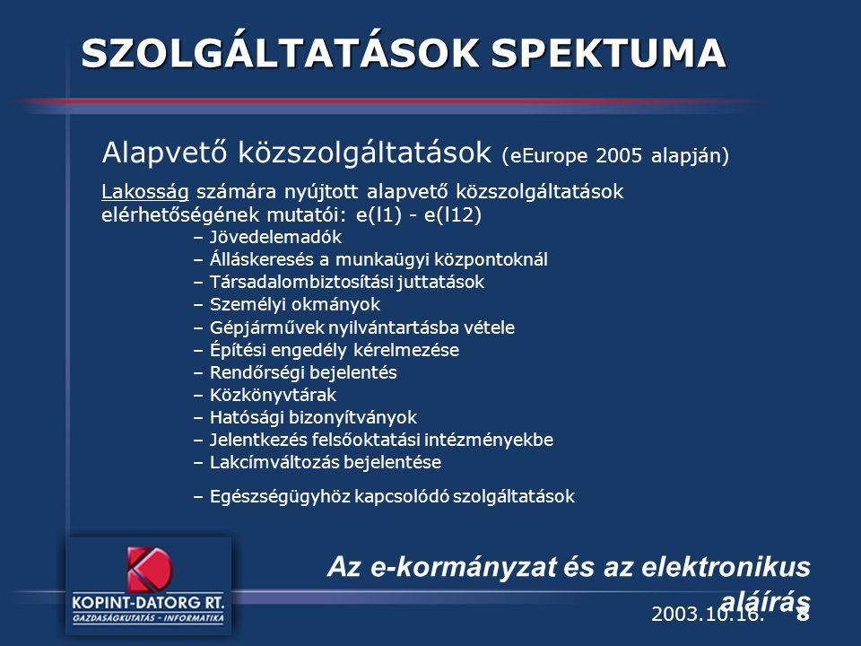 8 Az e-kormányzat és az elektronikus aláírás 2003.10.16.