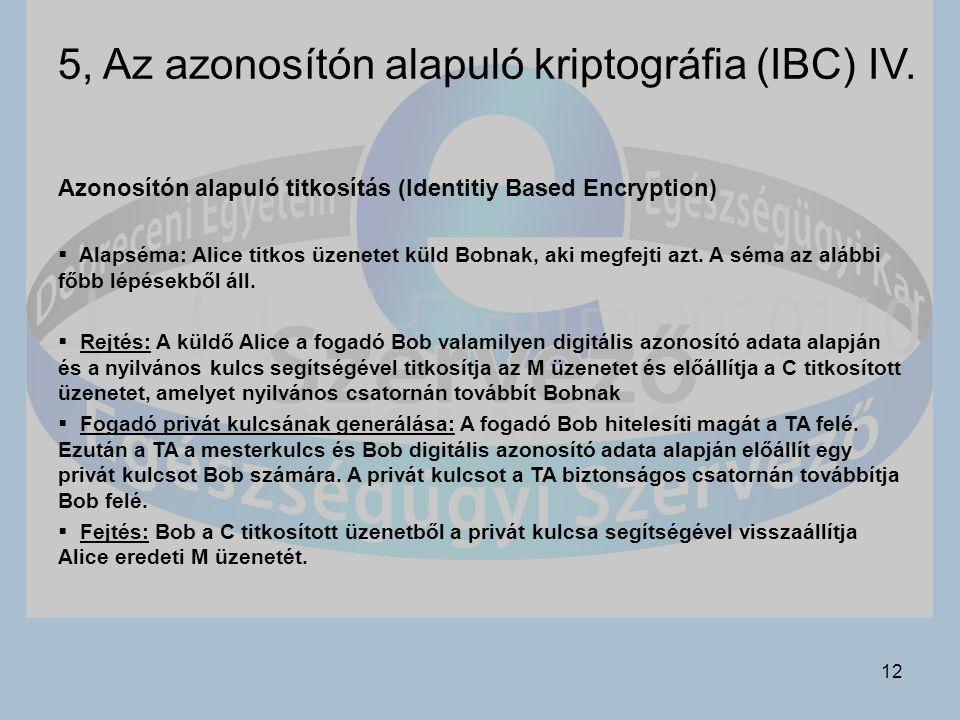 12 5, Az azonosítón alapuló kriptográfia (IBC) IV.