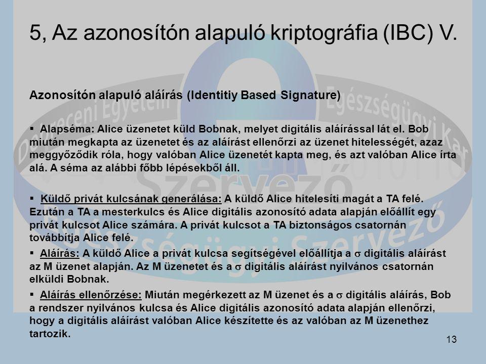 13 5, Az azonosítón alapuló kriptográfia (IBC) V.