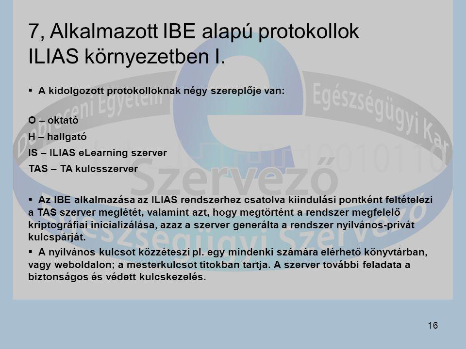 16 7, Alkalmazott IBE alapú protokollok ILIAS környezetben I.