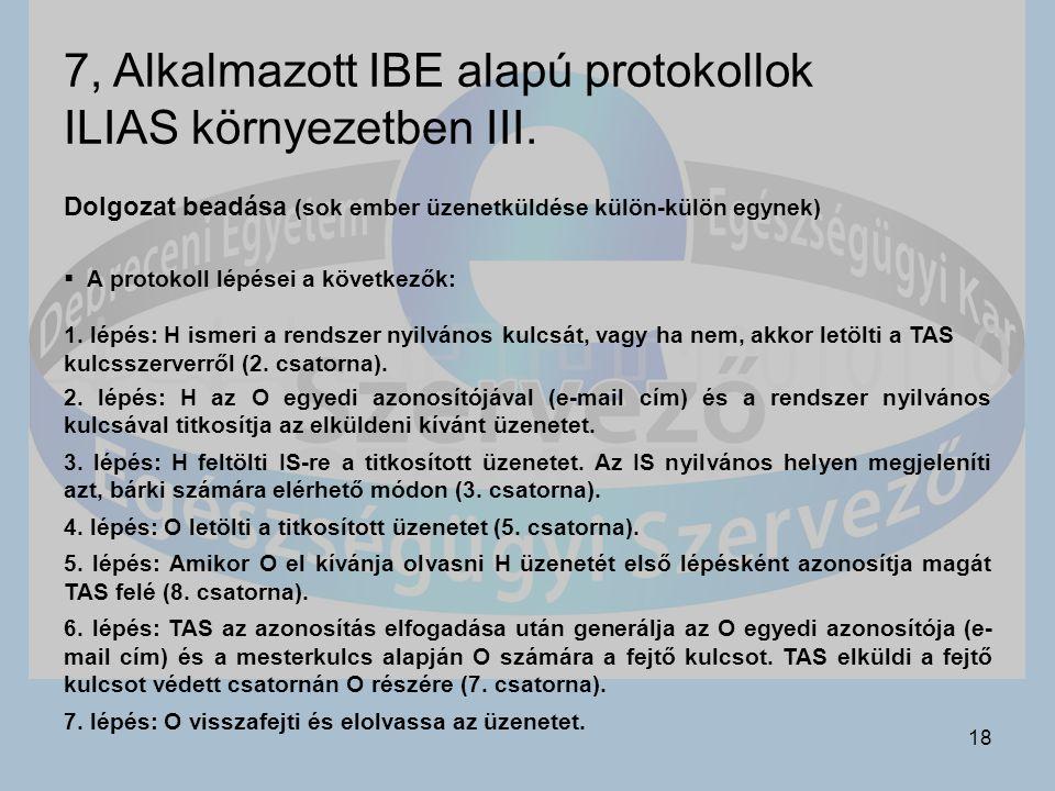 18 7, Alkalmazott IBE alapú protokollok ILIAS környezetben III.