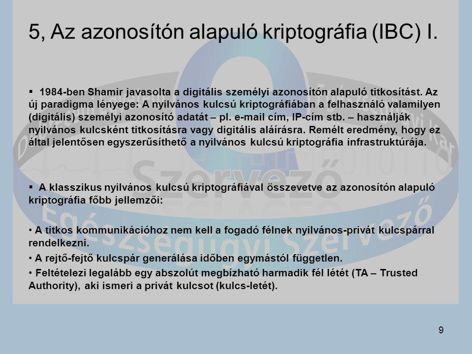 9 5, Az azonosítón alapuló kriptográfia (IBC) I.
