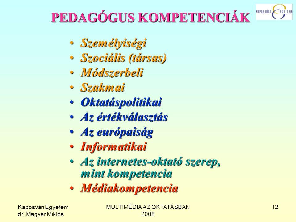 Kaposvári Egyetem dr. Magyar Miklós MULTIMÉDIA AZ OKTATÁSBAN 2008 12 PEDAGÓGUS KOMPETENCIÁK SzemélyiségiSzemélyiségi Szociális (társas)Szociális (társ