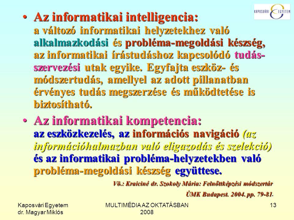 Kaposvári Egyetem dr. Magyar Miklós MULTIMÉDIA AZ OKTATÁSBAN 2008 13 Az informatikai intelligencia: a változó informatikai helyzetekhez való alkalmazk