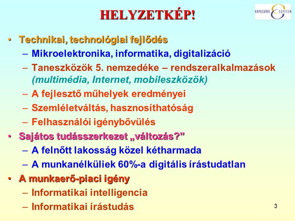 3 HELYZETKÉP! Technikai, technológiai fejlődésTechnikai, technológiai fejlődés –Mikroelektronika, informatika, digitalizáció –Taneszközök 5. nemzedéke
