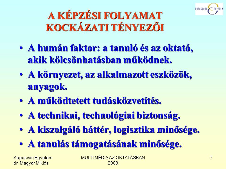 Kaposvári Egyetem dr. Magyar Miklós MULTIMÉDIA AZ OKTATÁSBAN 2008 7 A KÉPZÉSI FOLYAMAT KOCKÁZATI TÉNYEZŐI A humán faktor: a tanuló és az oktató, akik