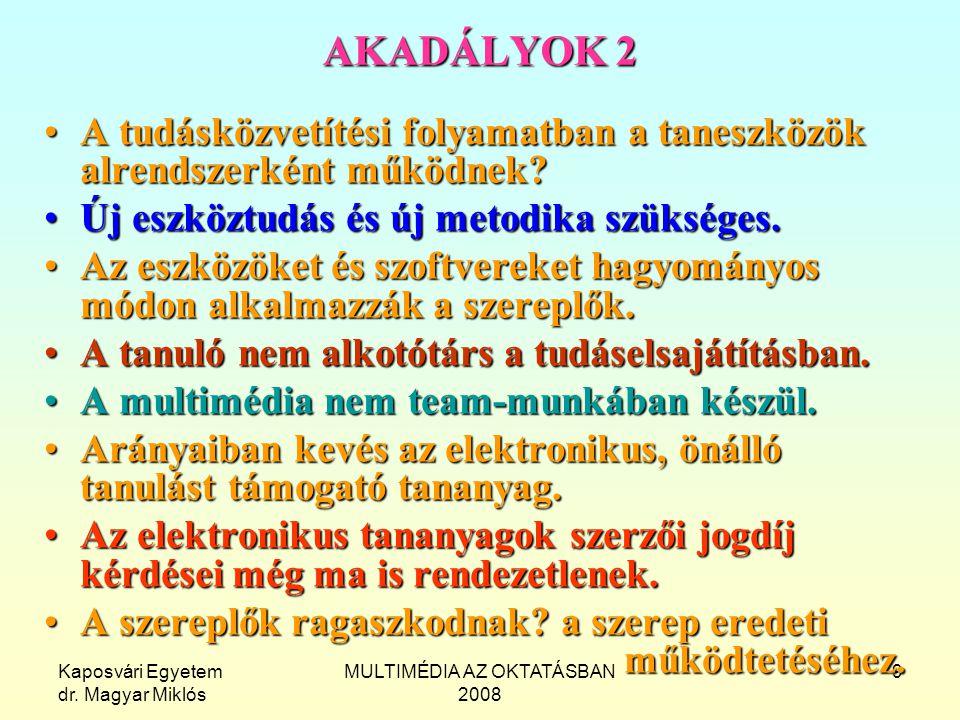 Kaposvári Egyetem dr. Magyar Miklós MULTIMÉDIA AZ OKTATÁSBAN 2008 9 AKADÁLYOK 2 A tudásközvetítési folyamatban a taneszközök alrendszerként működnek?A
