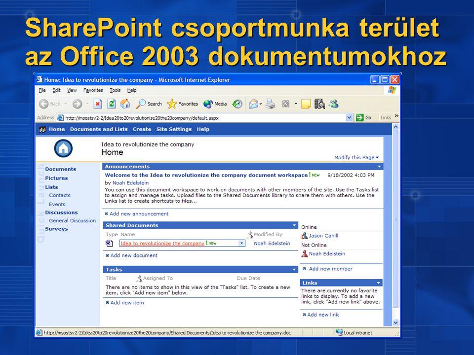 SharePoint csoportmunka terület az Office 2003 dokumentumokhoz