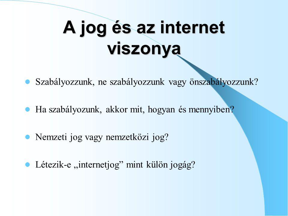 A jog és az internet viszonya Szabályozzunk, ne szabályozzunk vagy önszabályozzunk.
