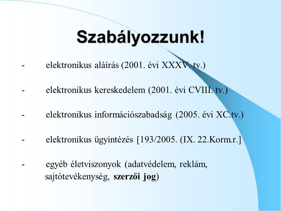 Szabályozzunk.- elektronikus aláírás (2001. évi XXXV.