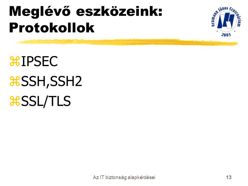 Az IT biztonság alapkérdései 13 Meglévő eszközeink: Protokollok zIPSEC zSSH,SSH2 zSSL/TLS