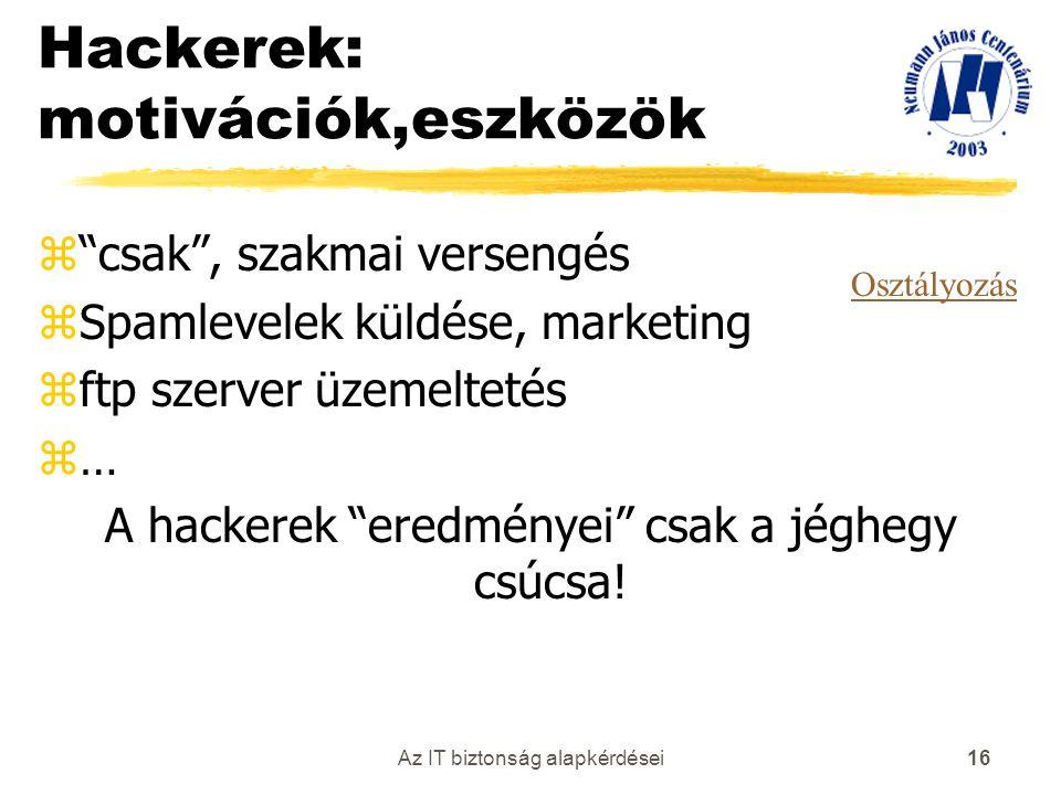 """Az IT biztonság alapkérdései 16 Hackerek: motivációk,eszközök z""""csak"""", szakmai versengés zSpamlevelek küldése, marketing zftp szerver üzemeltetés z… A"""