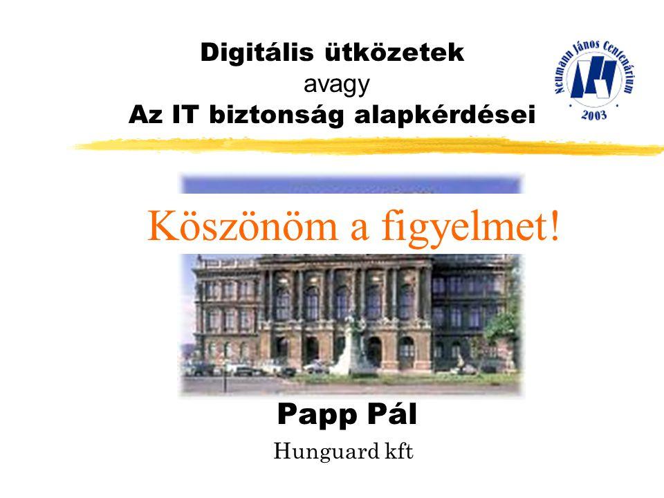 Digitális ütközetek avagy Az IT biztonság alapkérdései Papp Pál Hunguard kft Köszönöm a figyelmet!
