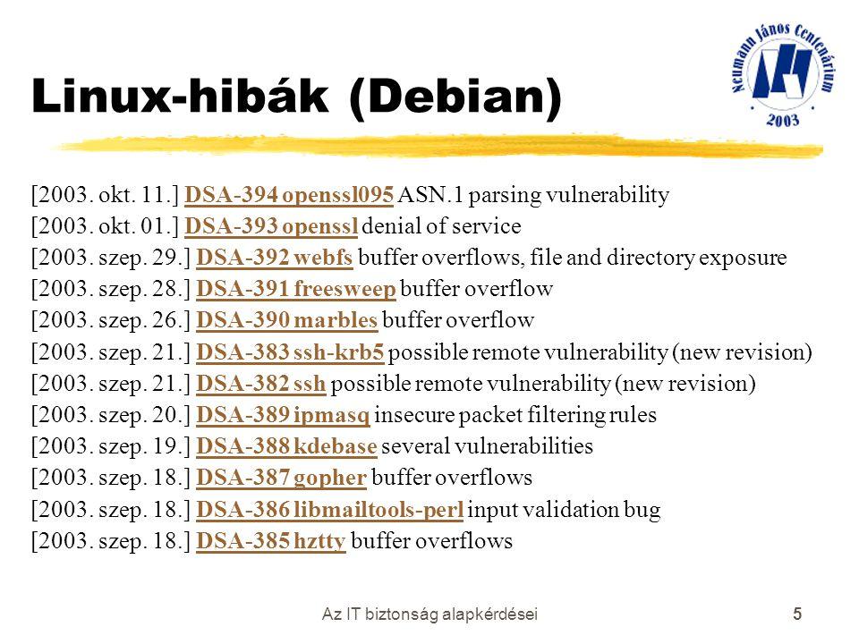 Az IT biztonság alapkérdései 5 Linux-hibák (Debian) [2003. okt. 11.] DSA-394 openssl095 ASN.1 parsing vulnerabilityDSA-394 openssl095 [2003. okt. 01.]