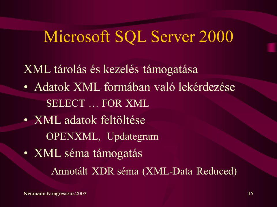 Neumann Kongresszus 200315 Microsoft SQL Server 2000 XML tárolás és kezelés támogatása Adatok XML formában való lekérdezése SELECT … FOR XML XML adato