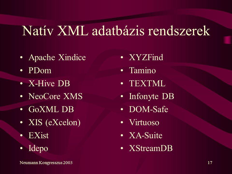 Neumann Kongresszus 200317 Natív XML adatbázis rendszerek Apache Xindice PDom X-Hive DB NeoCore XMS GoXML DB XIS (eXcelon) EXist Idepo XYZFind Tamino