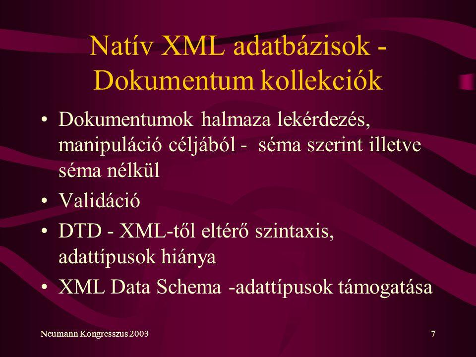 Neumann Kongresszus 20037 Natív XML adatbázisok - Dokumentum kollekciók Dokumentumok halmaza lekérdezés, manipuláció céljából - séma szerint illetve s