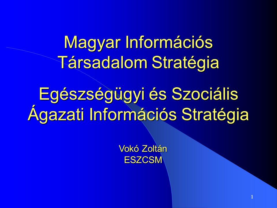 1 Magyar Információs Társadalom Stratégia Egészségügyi és Szociális Ágazati Információs Stratégia Vokó Zoltán ESZCSM