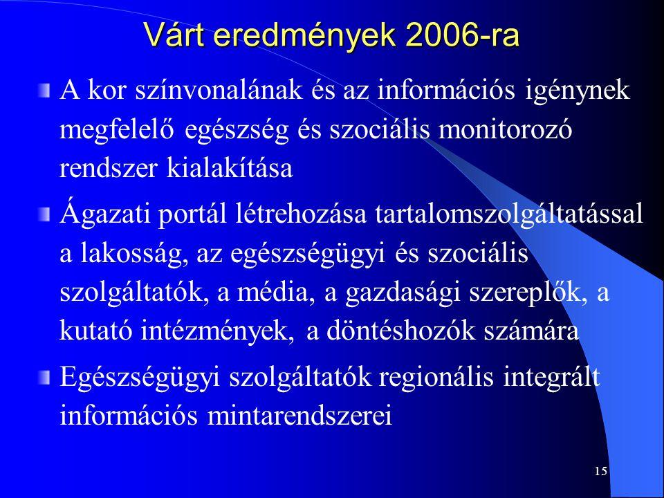 15 Várt eredmények 2006-ra A kor színvonalának és az információs igénynek megfelelő egészség és szociális monitorozó rendszer kialakítása Ágazati port