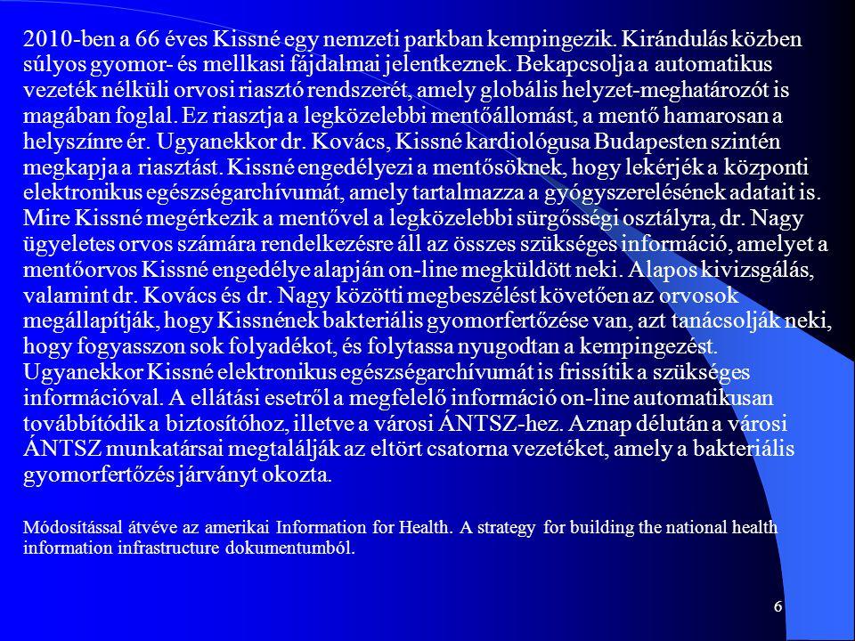6 2010-ben a 66 éves Kissné egy nemzeti parkban kempingezik. Kirándulás közben súlyos gyomor- és mellkasi fájdalmai jelentkeznek. Bekapcsolja a automa