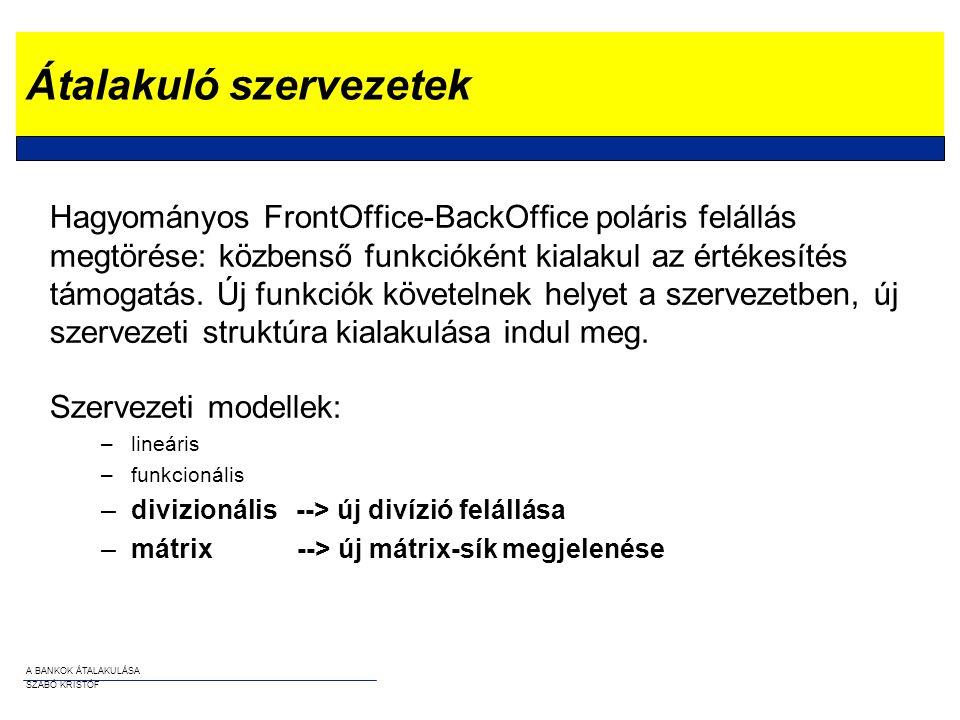 A BANKOK ÁTALAKULÁSA SZABÓ KRISTÓF Átalakuló szervezetek Hagyományos FrontOffice-BackOffice poláris felállás megtörése: közbenső funkcióként kialakul
