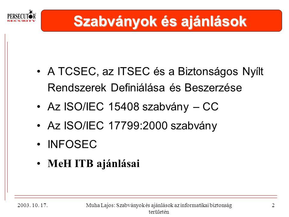 2003.10. 17.Muha Lajos: Szabványok és ajánlások az informatikai biztonság területén 13 MeH ITB 8.