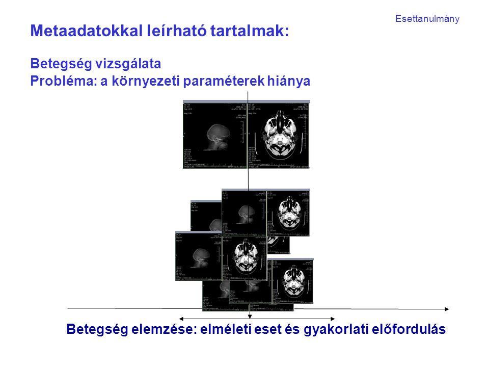 Betegség elemzése: elméleti eset és gyakorlati előfordulás Betegség vizsgálata Probléma: a környezeti paraméterek hiánya Metaadatokkal leírható tartalmak: Esettanulmány