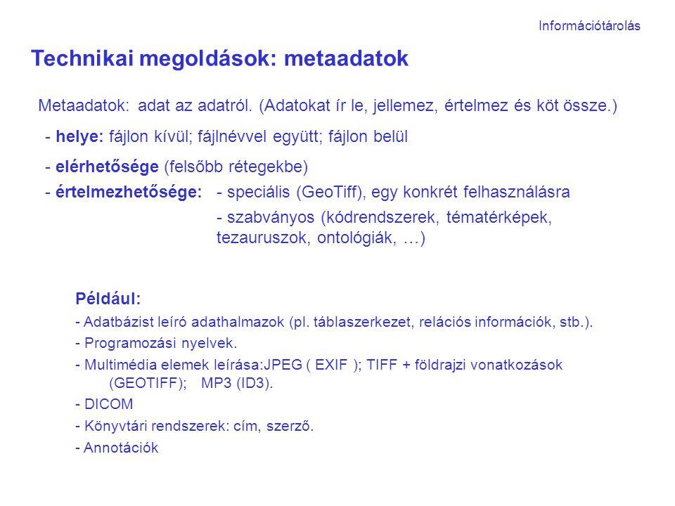 Információtárolás Technikai megoldások: metaadatok Metaadatok:adat az adatról.